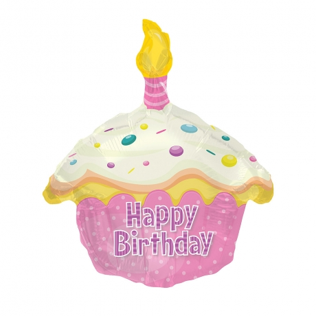 Make their day really special with this fun cake shaped 'Happy Birthday' helium balloon.<br /><br />Delivered fully inflated with ribbon and weight. Balloon size: 19 inch width x 22.5 inch height.