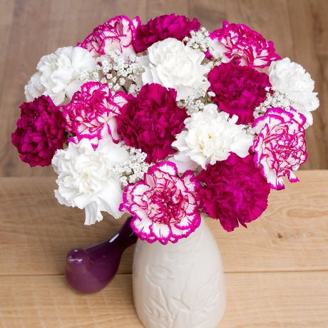 A beautiful selection of long-lasting Carnations in purple, pink and white with Gypsophila and purple Ruscus.