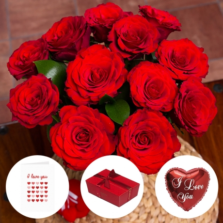 12 luxury upper class red Roses with Belgian chocolates, mini 'I Love You' balloon and greetings card.