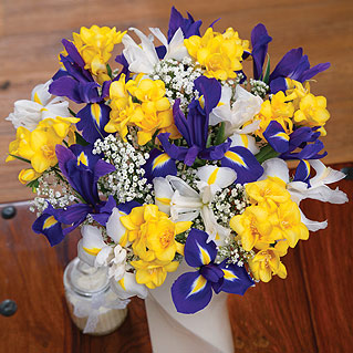 A fragrant and colourful bouquet containing blue and white Iris alongside sunny yellow Freesia.