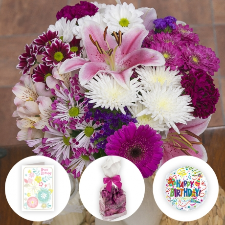 Treat them to a bouquet of flowers and chocolates with mini helium  balloon and birthday card.