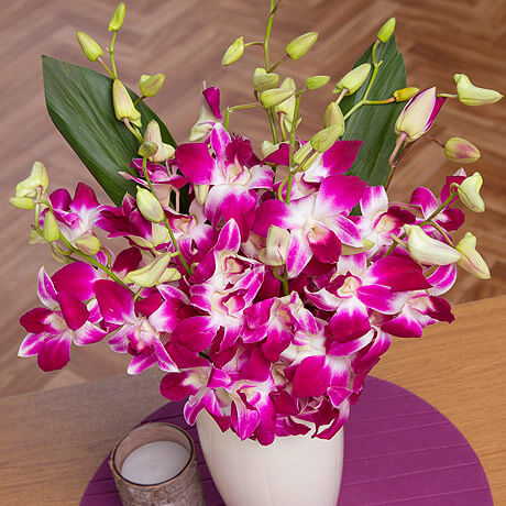 An exotic bouquet delicate long-stemmed oriental Dendrobium Orchids in vibrant fuchsia colour.