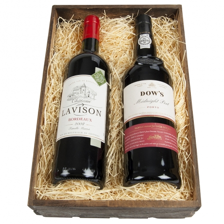 An elegant choice for someone with a refined palate and an intense love of wine.<br /><br />Dark and versatile Dows Midnight Port and sophisticated Claret complete this thoughtful gift which is lovingly presented in a wooden slatted crate.