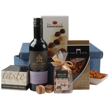 The perfect hamper to send to any man in your life, the contents are presented in a smart blue woven basket making it ideal to send to a special occasion, celebration or thank you.