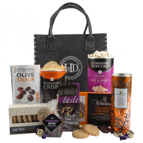 This gourmet gift bag full of delicious bites is great to send as a pick-me-up to a loved one. 
