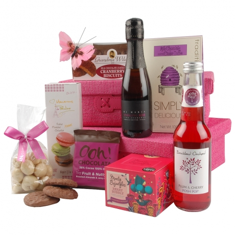 A selection of attractive treats await in this fantastic gift of two pink baskets filled with delicious goodies.
