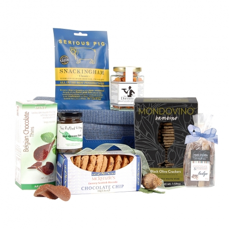Mint Chocolate Thins, Breakfast Marmalade and Chocolate Chip Biscuits appear in this delicious sweet and savoury hamper.<br /><br />Presented in a smart blue gift box, it will make a wonderful and varied gift appealing to both sweet and savoury taste buds.