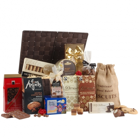 This sophisticated chocolate hamper is delivered in a woven lidded basket and is perfect for any chocoholic!
