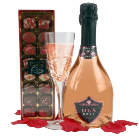 A truly stylish gift for Mother's Day, a mouth-watering box of luxury handmade chocolates accompanies a bottle of Rose wine.