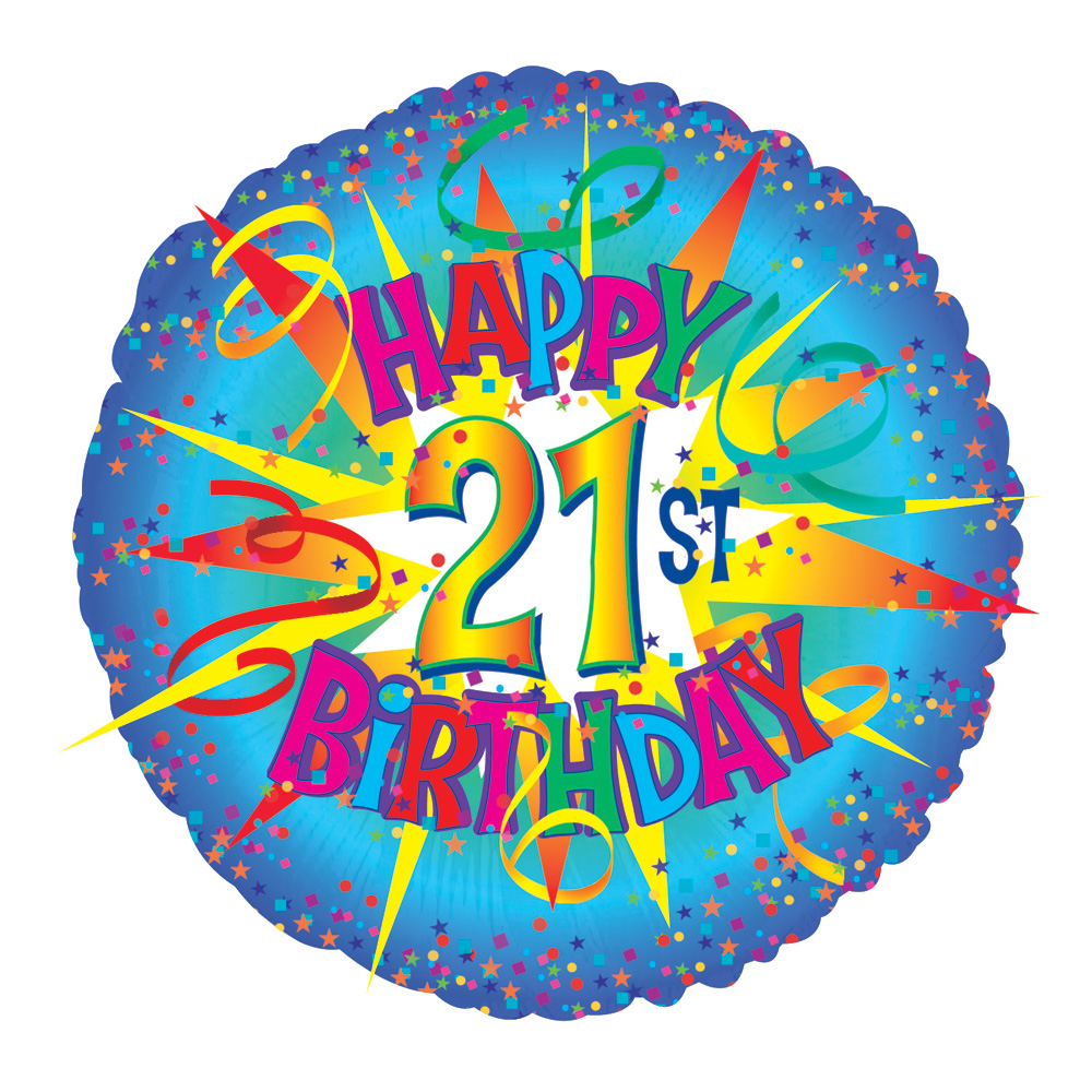 Perfect for a 21st birthday! A 17 inch helium balloon, delivered in a gift box with your personal message card with the text 'Happy 21st Birthday'.