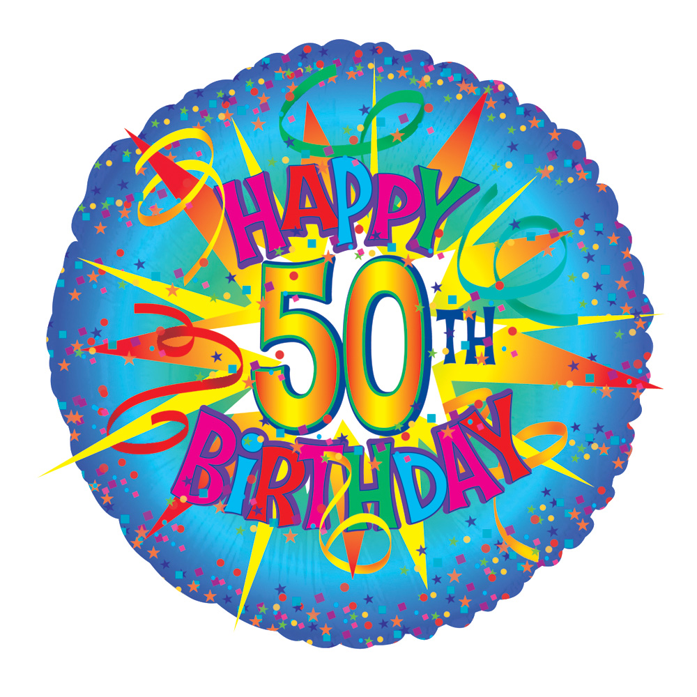 Perfect for a 50th birthday! Send a 17 inch helium balloon with the text 'Happy 50th Birthday' for their 50th birthday, presented in a gift box with your personal message card.