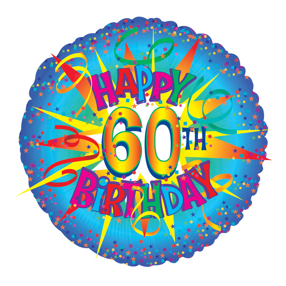 Perfect for a 60th birthday party! An 18 inch helium balloon with the text 'Happy 60th Birthday'. Ideally suited for a 60th birthday party, this balloons is delivered ready inflated in a helium balloon gift box with your personal message card to give a special birthday message.