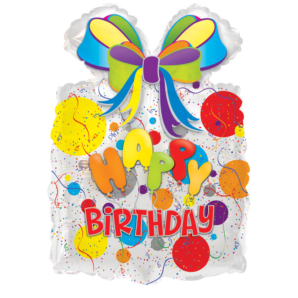 "Wish someone a Happy Birthday with funky gift shaped 18.5"" x 25"" happy birthday helium balloon.<br /><br />Delivered fully inflated with ribbon and weight.<br /><br /><span style=""font-weight: bold;"">Free chocolates with this birthday balloon!</span>"