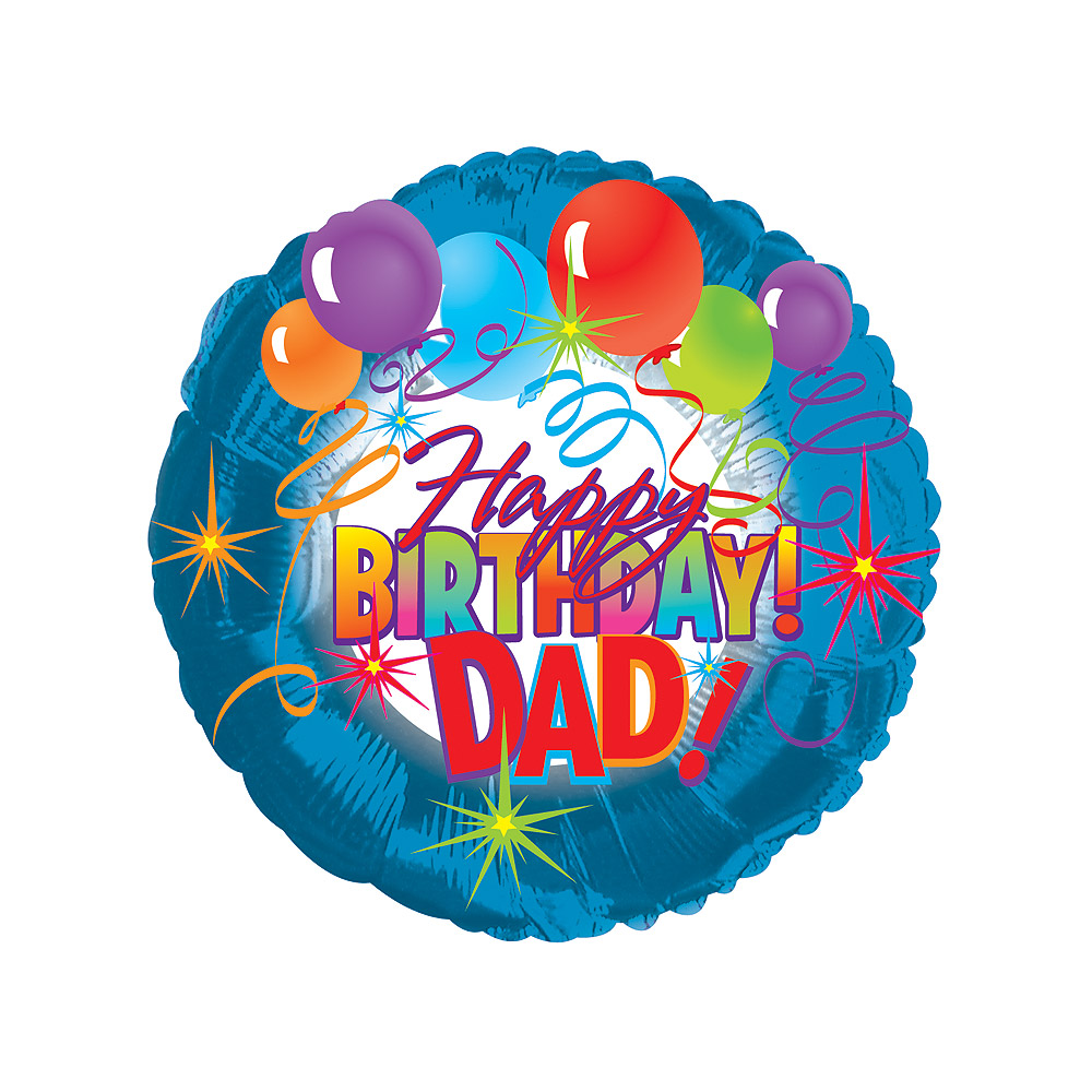 Say Happy Birthday to Dad on his special day with this 18 inch happy birthday Dad balloon with the text 'Happy Birthday Dad', ready inflated with helium.