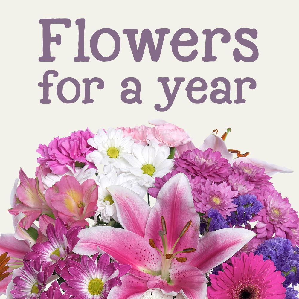 "Receive a gorgeous bouquet of fresh flowers every month for a year and save over 20% against normal prices.<br /><br />Our monthly flower delivery service makes a great value long lasting gift.<br /><br /><a href=""http://www.bunches.co.uk/flowers/sweetheart-bouquet.php"" target=""_blank"">January - Sweetheart Bouquet</a><br /><a href=""http://www.bunches.co.uk/flowers/spring-tulips.php"" target=""_blank"">February - Spring Tulips</a><br /><a href=""http://www.bunches.co.uk/flowers/mums-pride.php"" target=""_blank"">March - Mum's Pride</a><br /><a href=""http://www.bunches.co.uk/flowers/iris-and-freesias.php"" target=""_blank"">April - Iris and Freesias</a><br /><a href=""http://www.bunches.co.uk/flowers/fragrant-freesias.php"" target=""_blank"">May - Fragrant Freesias</a><br /><a href=""http://www.bunches.co.uk/flowers/sweet-summer-roses.php"" target=""_blank"">June - Sweet Summer Roses</a><br /><a href=""http://www.bunches.co.uk/flowers/lemon-drizzle.php"" target=""_blank"">July - Lemon Drizzle</a><br /><a href=""http://www.bunches.co.uk/flowers/tropical-breeze.php"" target=""_blank"">August - Tropical Breeze</a><br /><a href=""http://www.bunches.co.uk/flowers/autumn-roses.php"" target=""_blank"">September - Autumn Roses</a><br /><a href=""http://www.bunches.co.uk/flowers/auburn-fall.php"" target=""_blank"">October - Auburn Fall</a><br /><a href=""http://www.bunches.co.uk/flowers/mystique-pink.php"" target=""_blank"">November - Mystique Pink</a><br /><a href=""http://www.bunches.co.uk/flowers/christmas-spirit.php"" target=""_blank"">December - Christmas Spirit</a><br /><br />How to order - Click 'place order' below and proceed to checkout, you can then enter the delivery address for your monthly bouquets subscription and enter a personal message to be included."