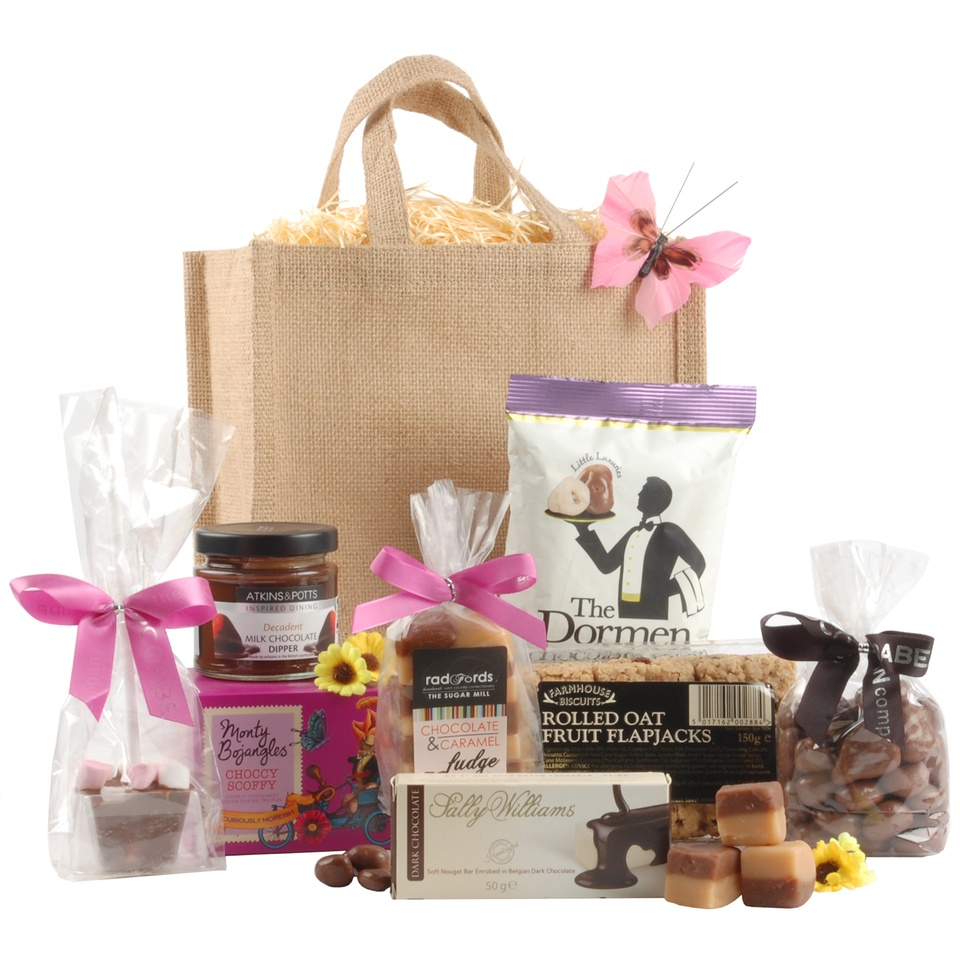 An appealing gift bag filled with a variety of chocolaty treats to satisfy your sweet tooth.<br /><br />