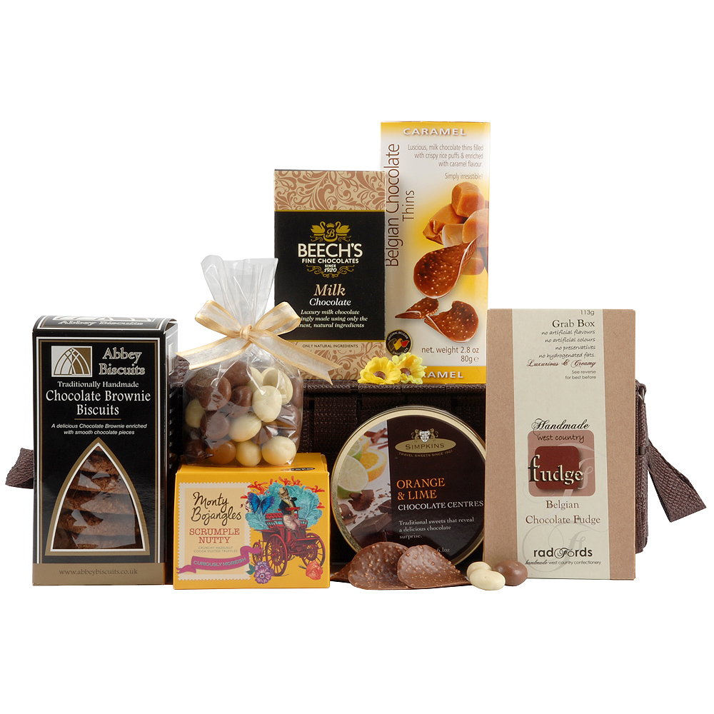 A basket full of appealing chocolaty treats to really satisfy a sweet tooth.<br /><br />