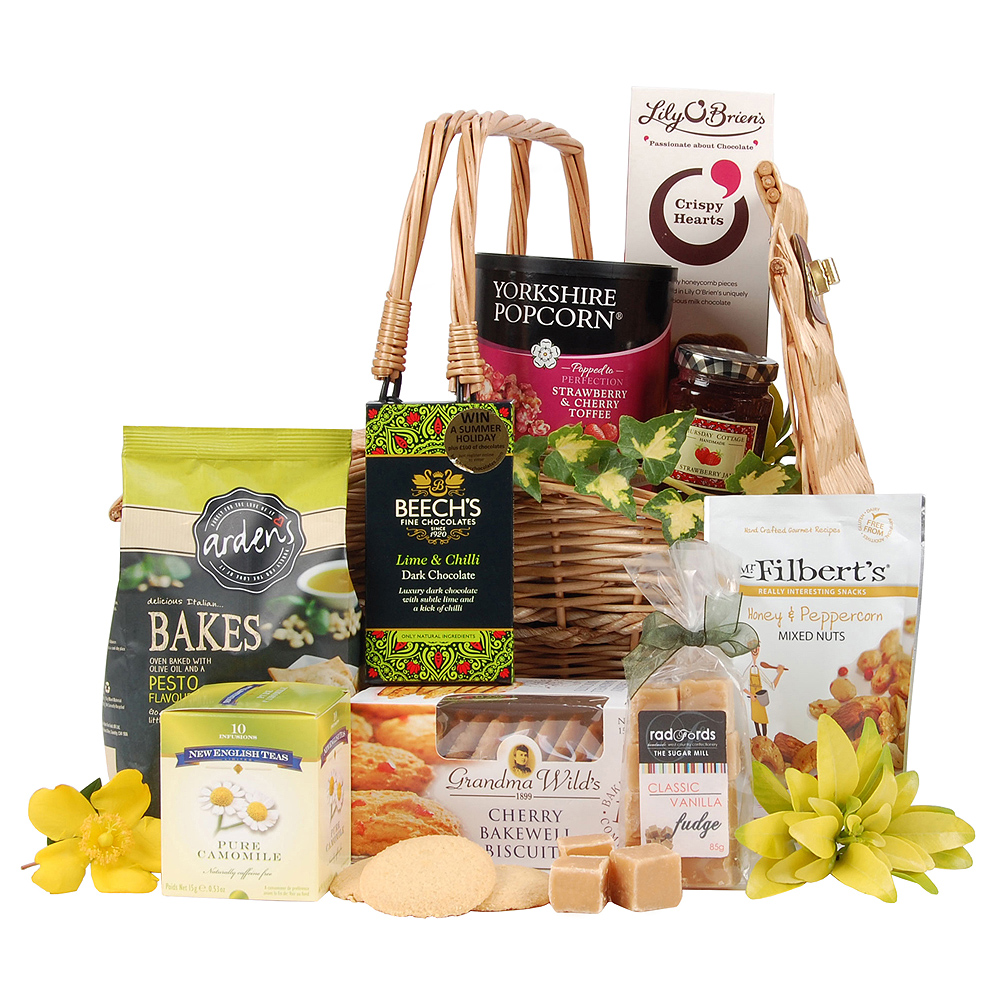 This delectable food hamper is filled to the brim with satisfyingly tasty sweet & savoury pleasures, from biscuits and toffee to pesto bakes and mixed nuts.<br /><br />Delivered in a butterfly wicker basket, it will make the perfect present for the gourmet food lover.