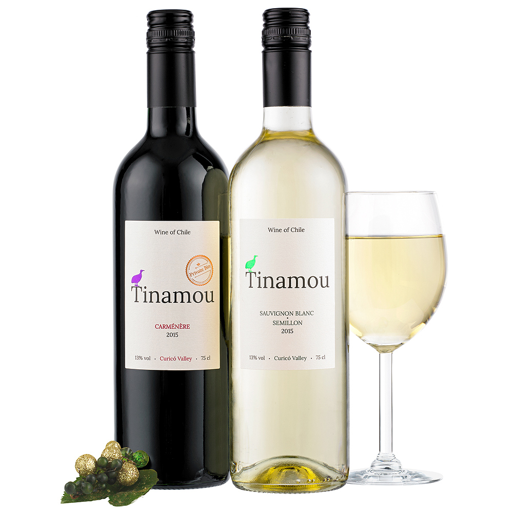 A bottle of Carmenere with a fresh fruit finish is joined by a zesty Sauvignon Blanc. Perfect for a lover of Chilean wines.