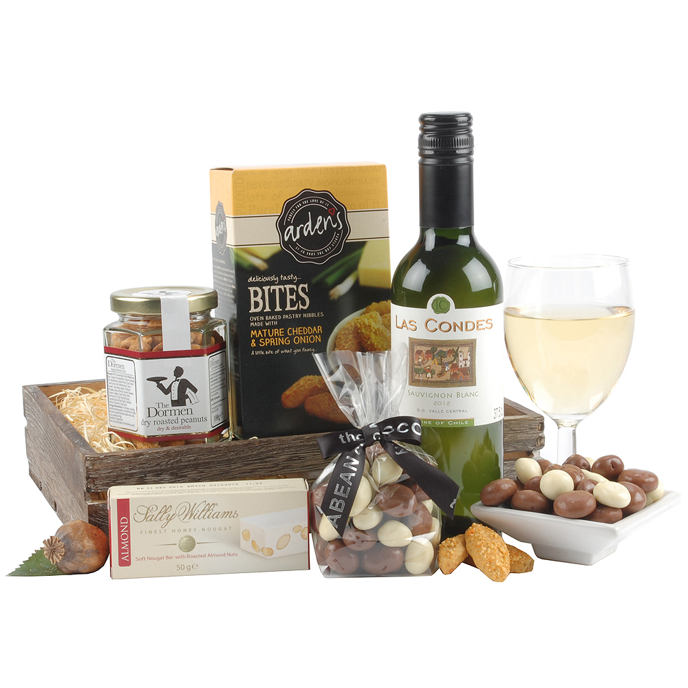 An enticing bottle of Cabernet Sauvignon is the highlight of this hamper which is also full of sweet and savoury treats to enjoy alongside the wine.<br /><br />The contents are presented in a charming wooden slat crate, making it a gift anyone would love to receive!