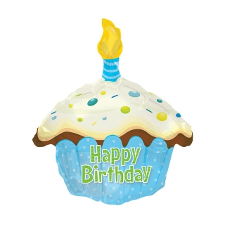 Blue Birthday Cake Balloon