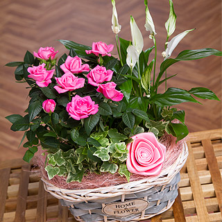 Rose and Lily Flower Basket