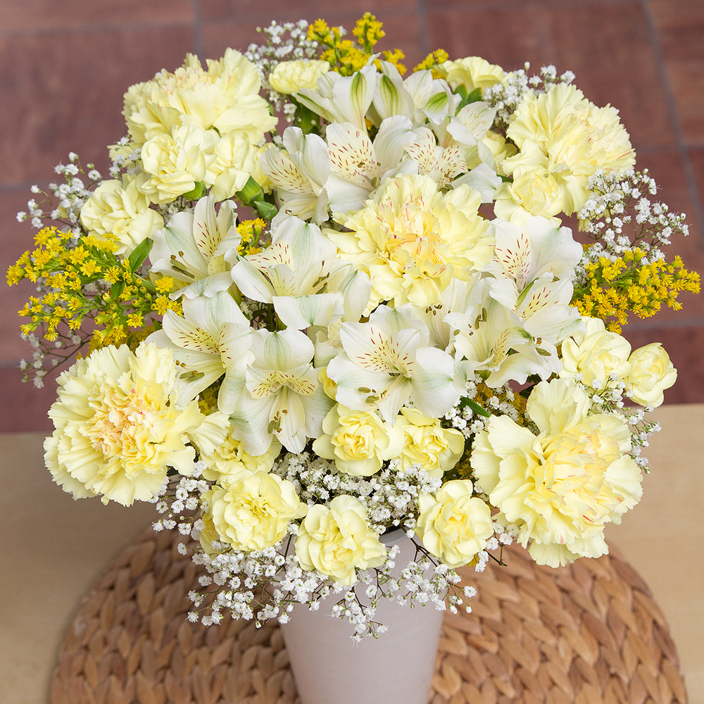 Sunshine bouquet yellow and white flowers carnations