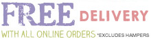 Free delivery & chocolates with all orders (except hampers)